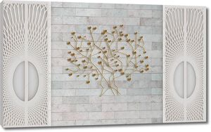 3d иллюстрация, серый фон плитки, ажурная решетка, абстрактные ветви на стене