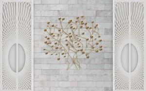 Ажурная решетка, абстрактные ветви на стене