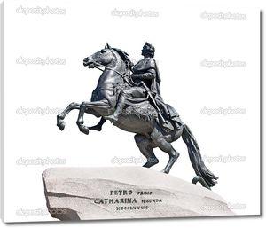 Памятник русского императора Петра Великого изолирован на белом