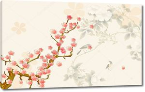 Весна,  Сакура и птицы