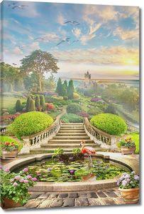Дорога ведущая в зеленый сад с птицами