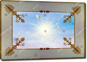 Три голубя в небе с солнцем