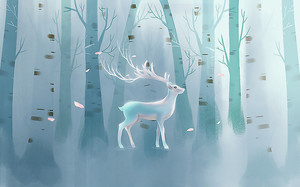 Белый олень в березовой роще