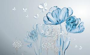 Прозрачные тюльпаны с бабочками
