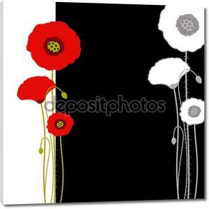 Абстрактный Красный Мак на черно-белом фоне