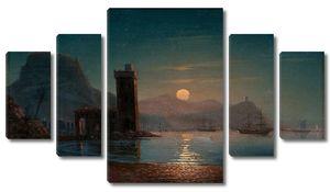 Айвазовский. Лунный свет отражается на воде
