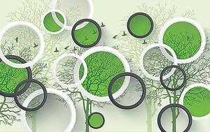 Деревья с зелеными кругами