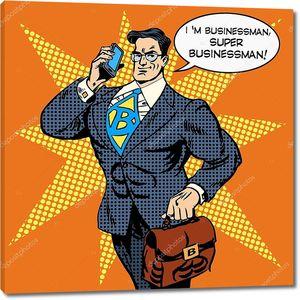 Супер бизнесмен отвечает на телефонный звонок