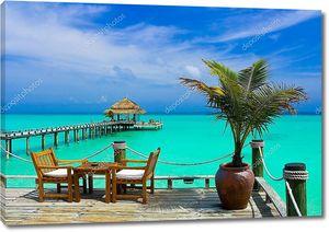 Кафе на пляже на Мальдивах