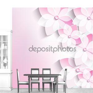 Цветочный фон, открытка, 3D цветы сакуры
