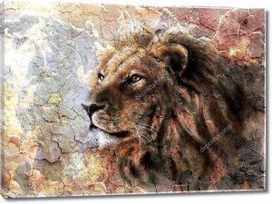 Львиная голова на фоне пустыни  majesticaly.