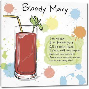 Кровавая Мэри. Рисованной иллюстрации коктейль.