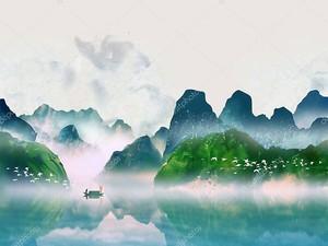 Горный зеленый пейзаж, озеро