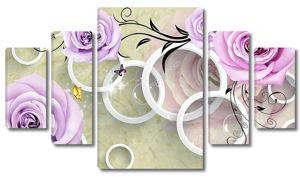 Фиолетовые розы и кольца