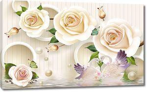 Розы и два лебедя на воде