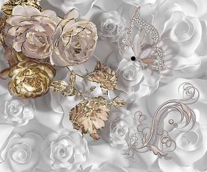 Цветы на белом фоне с жемчугом