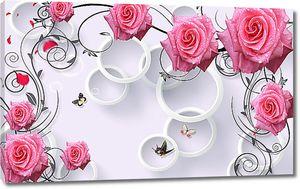 Розы с бабочками в кольцах