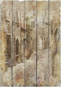 Старинная фреска с кирпичными домами