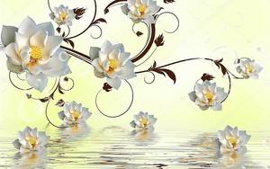 Крупные белые цветки, висят над водой
