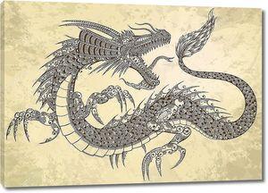 Вектор эскиз каракули племенной дракон татуировки хной