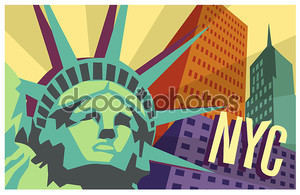 Плакат иллюстрированные путешествия Нью-Йорка и статуя свободы