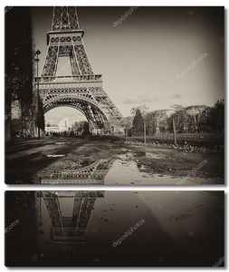 черно-белый вид Эйфелеву башню в Париже
