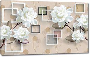 Белые объемные цветы