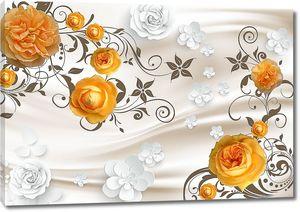 Желтые розы с узором