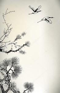 Ветви сосны и журавли