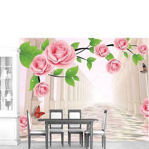 Светлый фон, большие розовые розы на ветке
