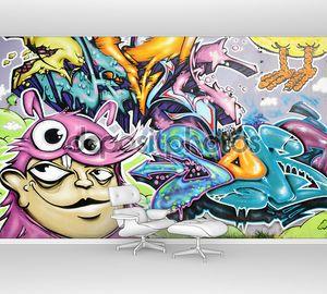 Стена с молодежным граффити
