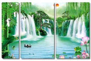 Водопады на лесном озере