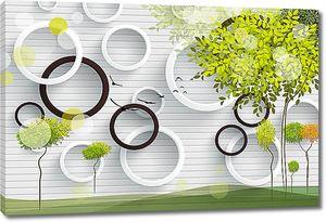 Объемные круги с деревом
