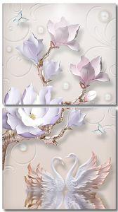 Керамический цветок и лебеди
