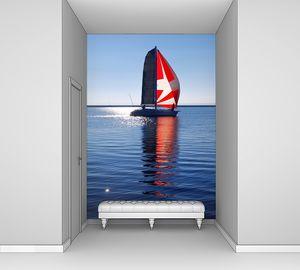 Лодка с красным парусом