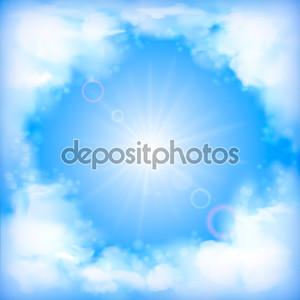 дизайн вектор небо с белыми пушистыми облаками, солнце, размытие, световые эффекты на четкие летний день. Художественный фон с пространства для текста на фоне голубые пастельные цвета