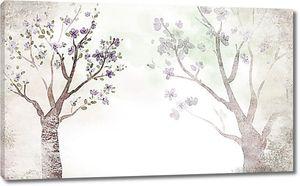 Деревья сакуры. Размытая техника