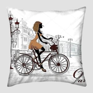 Мода девушка едет на велосипеде, украшенный музыкальный нотный стан