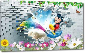 Микки Маус у проломленной стены