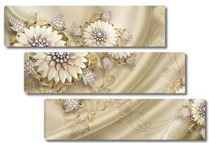 Цветы на фоне ткани