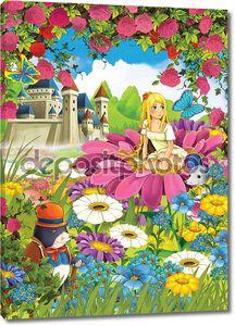 девушка на цветок с друзей животных - грызунов