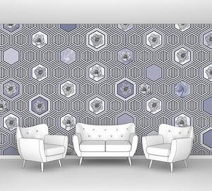 Geometrical fusion-серо-синий орнамент из сот