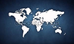 Карта мира на темной стене