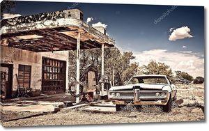 заброшенные ресторан на маршруте 66, в Нью-Мексико