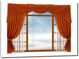 Окно с элегантными шторами и зимний пейзаж за пределами