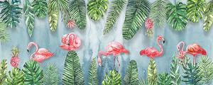 Пальмовые листья и фламинго