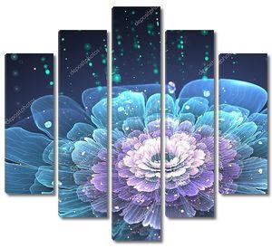 Фрактальный цветок с капельками воды