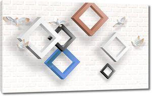 3d иллюстрация, белый кирпичный фон, разноцветные ромбовидные рамы, белые летающие голуби