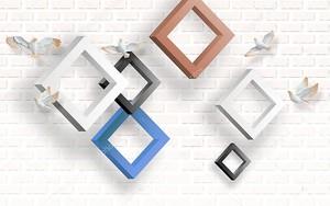 Кирпичный фон, разноцветные ромбовидные рамы, белые летающие голуби