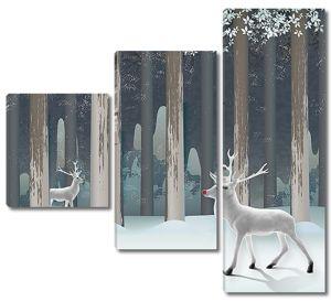 Белые олени в зимнем лесу